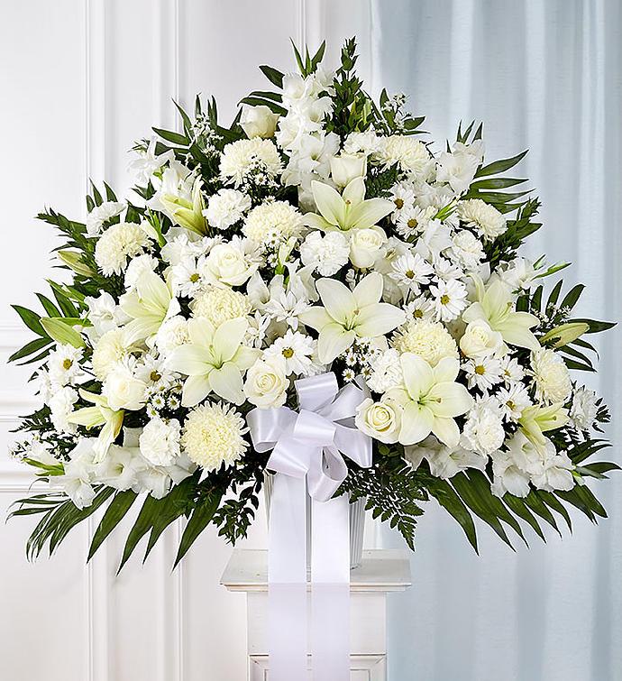 Classic Tribute Basket In White Main Florist