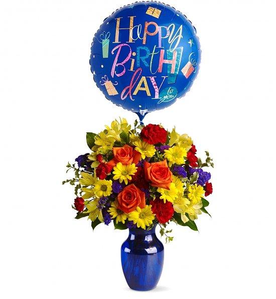 Happy Birthday Balloons Flowers